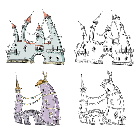 country house: Fantasy houses illustration