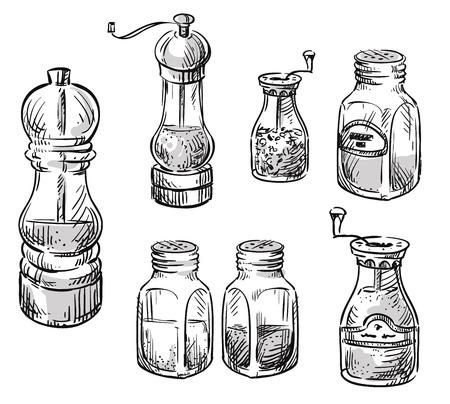 소금과 후추 뜨는 사람. 향신료 용기. 손으로 그린 삽화 세트