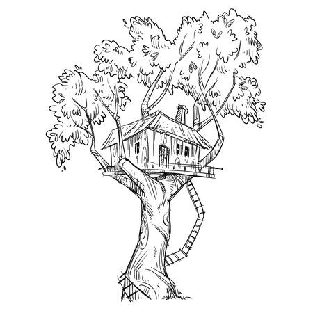 樹上の家。手描きのイラスト。  イラスト・ベクター素材