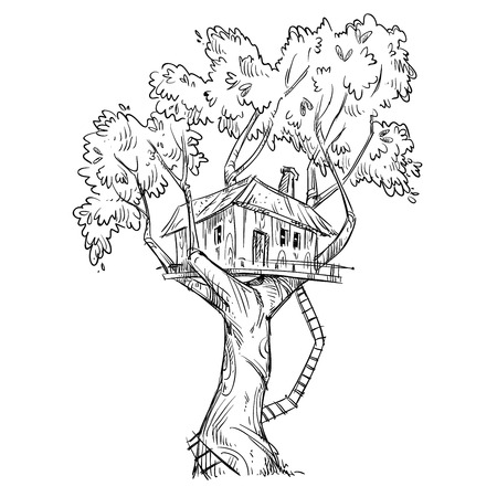 Treehouse. Hand drawn illustration.