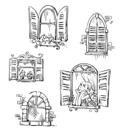 Set of hand drawn windows illustration