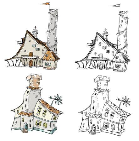 thatch: Fantasy houses illustration