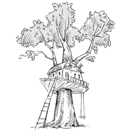 tree house: Treehouse. Hand drawn illustration.