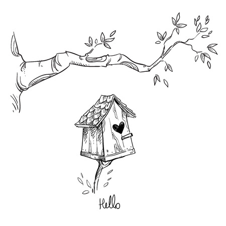 Birdhouse and the tree branch illustration