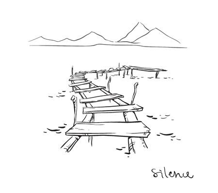 Stilte. Line drawing.Vector illustratie, volledig aanpasbaar Vector Illustratie