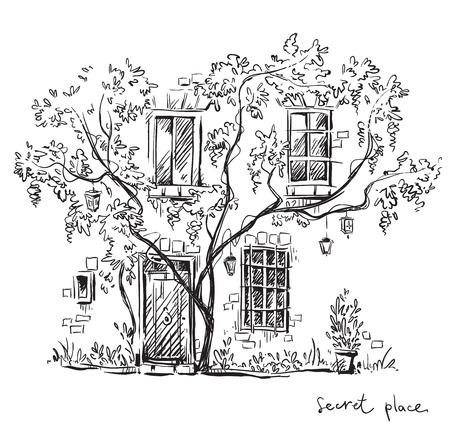 arbres silhouette: Un lieu secret. Vector illustration, entièrement modifiable. Illustration