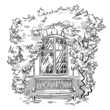 Winorośle i ławka. Przytulne miejsce, ilustracji wektorowych, w pełni edytowalne