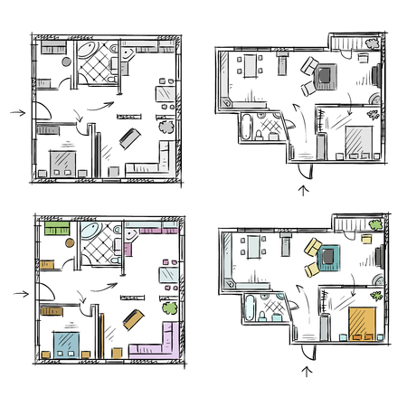rough: Apartment plan with furniture, vector sketch Illustration