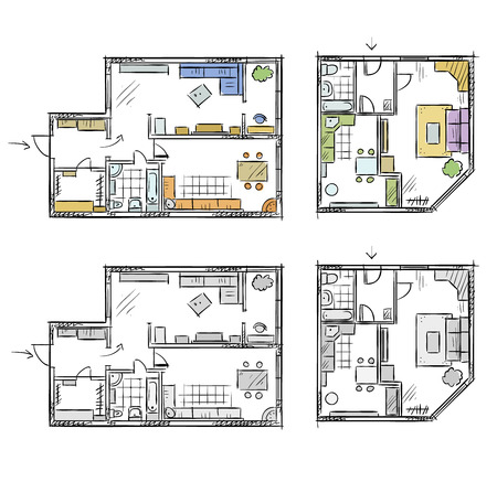 freehand: Apartment plan with furniture, vector sketch Illustration