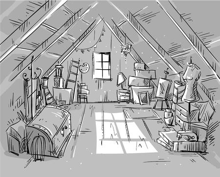 attic: Old Attic, vector illustration