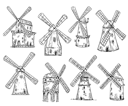Windmills, vector drawing