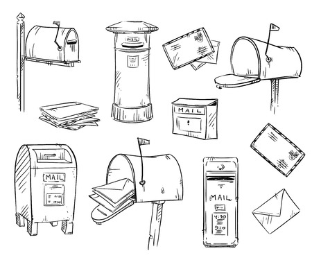 mailboxes: Mailboxes and letters, vector sketch, fully editable Illustration