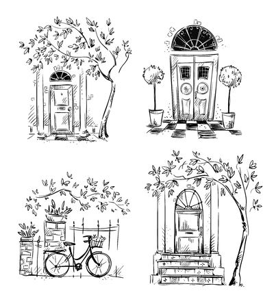 Set of architecture details drawings. Doors. Vector illustration