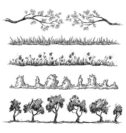 magnolia tree: Set of nature hand drawn dividers. vector illustration, fully editable