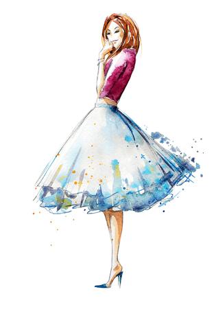 moda: aquarela moda ilustração, pintados à mão