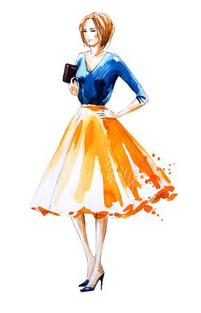 Acquarello illustrazione di moda, dipinto a mano Archivio Fotografico - 59921115