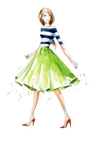 watercolor fashion illustration, hand painted Foto de archivo