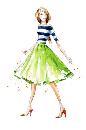 watercolor fashion illustration, hand painted Zdjęcie Seryjne