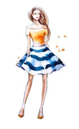 femme dessin: aquarelle illustration de mode, peint à la main