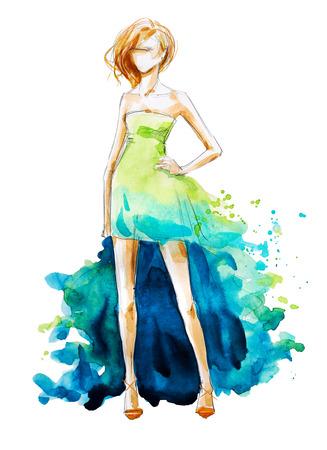 Aquarelle illustration de mode, peint à la main Banque d'images - 59921120