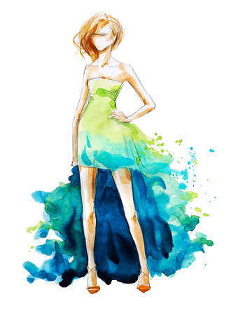 watercolor fashion illustration, hand painted Фото со стока