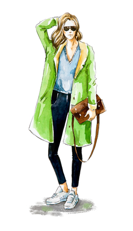 Fashion sketch. Street style. 스톡 콘텐츠