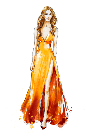 Fashion sketch. Watercolor dress. Catwalk. 스톡 콘텐츠
