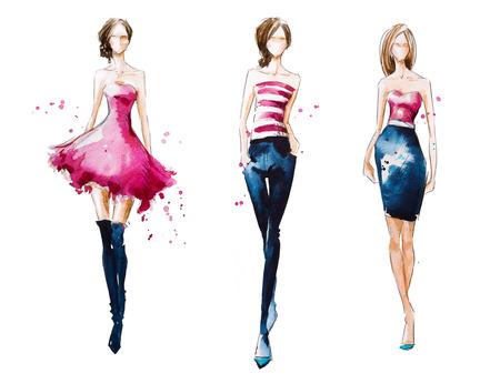 キャットウォーク。水彩ファッション イラスト