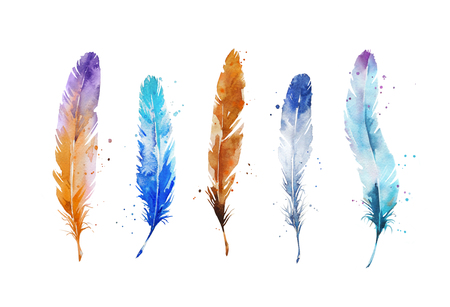 Watercolor feathers Archivio Fotografico
