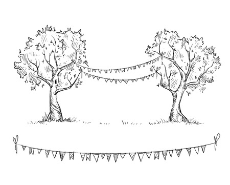 Trees with flags, vector illustration Illustration