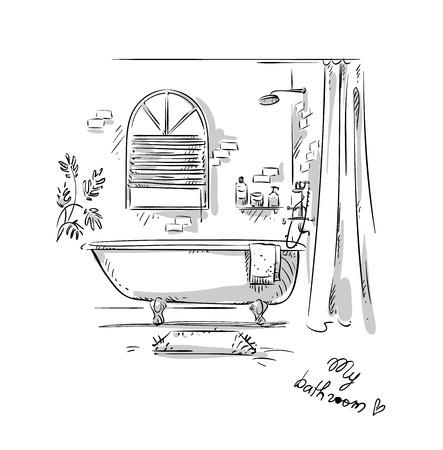 Bathroom drawing, interior design. Vector illustration. Vectores