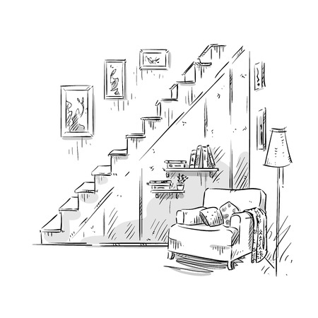 comfortable: Comfortable armchair, interior design, Vector illustration Illustration
