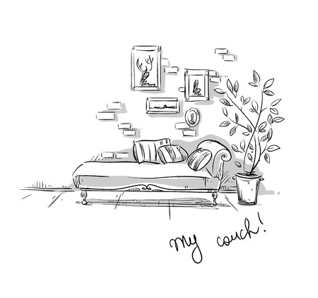 comfortable: Comfortable couch, vector illustration
