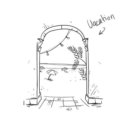 holiday vacation: Vacation illustration. Summer holiday icon. Sea resort sketch