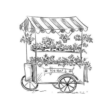 Flower stall, Florist cart. Vector illustration Çizim