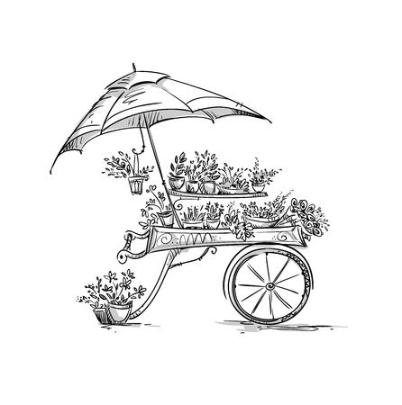 puesto de flores, Florista de la compra. ilustración vectorial