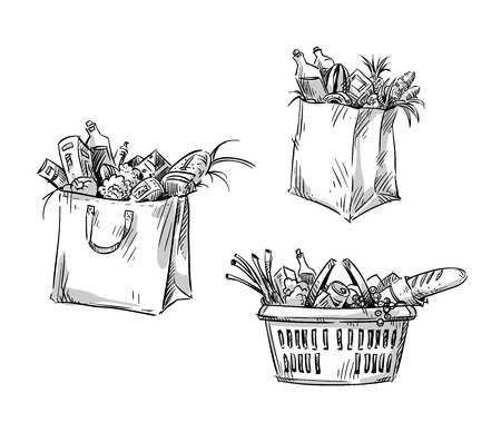 Sacs à provisions et panier. Illustration vectorielle. Banque d'images - 75637901