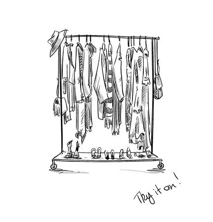 Clothes rack, vector illustration.