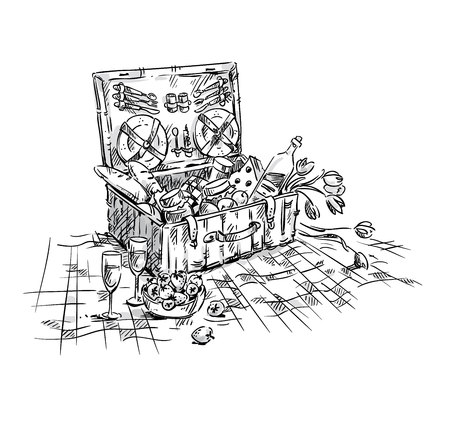 Picnic basket, lunch on the grass illustration