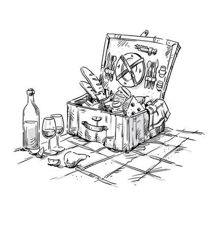 野餐篮,午餐在草地上的插图