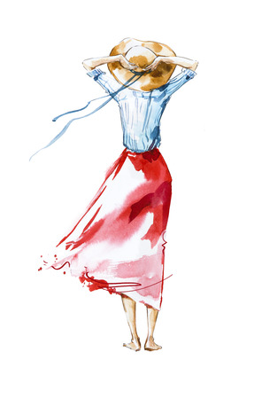 Watercolor fashion illustration, girl looking in the distance, rear view Banco de Imagens - 82256860