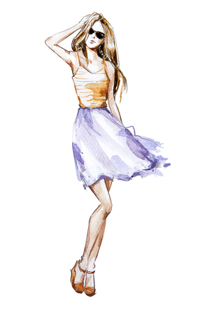 Watercolor fashion illustration, summer look