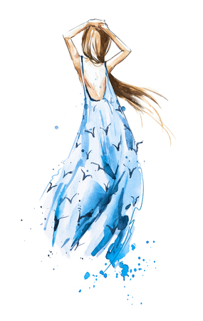 Watercolor fashion illustration, girl in a summer dress looking in the distance, rear view