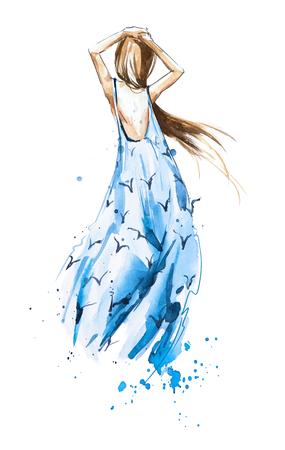 Ilustración de moda acuarela, chica en un vestido de verano mirando en la distancia, vista posterior Foto de archivo - 82256938