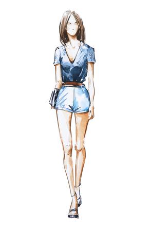 水彩ファッションイラスト、ストリート スタイル 写真素材