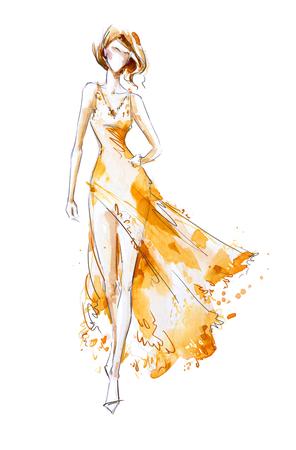 水彩ファッション イラスト、ロング ドレスのモデル キャットウォーク