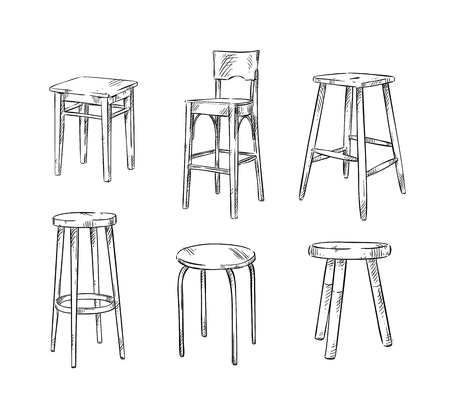 Set of hand drawn stools.