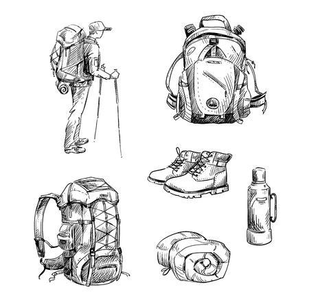 ハイキングやキャンプします。図面のセット  イラスト・ベクター素材