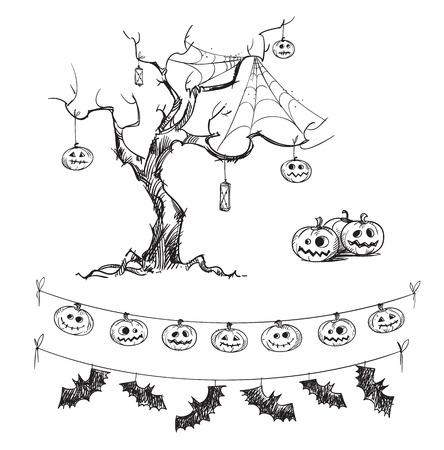 Halloween-tekeningen. Gesneden pompoenen, lantaarns, vlaggen.