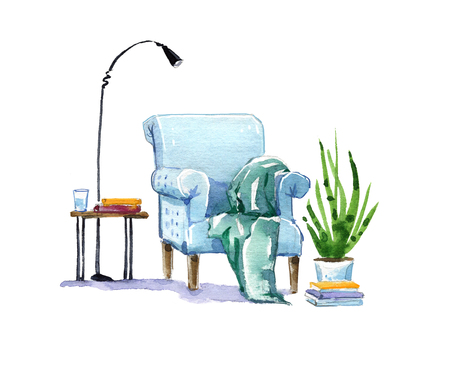 Cosy armchair, reading place watercolor illustration